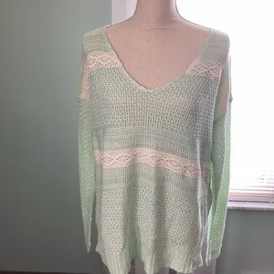 Sweaters - NWOT Mint V-Neck Knit Sweater • S/M